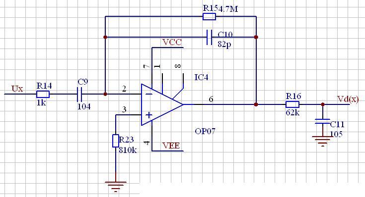想用运放做个微分电路(请见附图),但是不知道参数合适不合适?