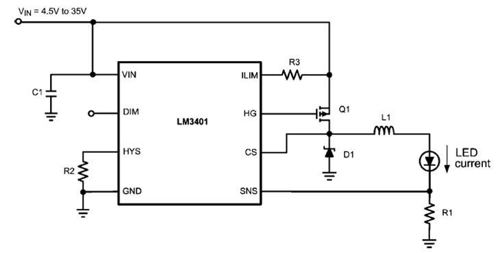 lm3401是国半推出的外置mos大功率led驱动器,可以设计3a